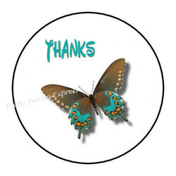30 THANK YOU BUTTERFLY THANKS ENVELOPE SEALS LABELS STICKERS PARTY FAVORS 1.5quot;