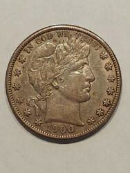 Scarce Date And Mint 1900-s Barber Silver Half Dollar Au Condition - C8491