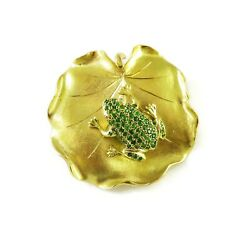 18k Yellow Gold Frog On A Leaf Brooch Pin 25.5