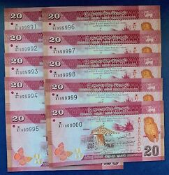 Sri Lanka 20 Rp 2010 Unc Solid Number 999999 And 1000000 6 And 7 Digits Lucky