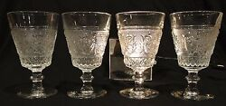 4 Sandwich Footed Water Goblets 8 Oz In Duncan And Miller Clear Glass 41