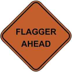 Pro-safe Flagger Ahead, 48 Wide X 48 High Nylon Construction Roadway Sign...