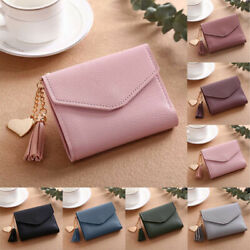 Women Cute Small PU Leather Short Wallet With Photo Credit ID Card Holder Purse $2.99