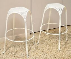 Perforated Bar Stools In The Style Of Mathieu Mategot