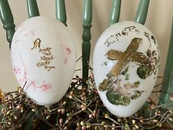 Antique Vtg Lot Hand Painted Easter Blown Milk Glass X Large Eggs Victorian