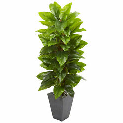 Large Leaf Philodendron Artificial Silk Plant In Slate Planter Nearly Natural 5'