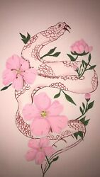 8x10 Snake And Flowers