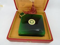 Mon Ami, Green Ybry Perfume Bottle, Baccarat With Lalique Glass Pendant
