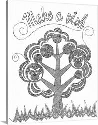 Diy Coloring Book Canvas Art Entitled Make A Wish - Black And White