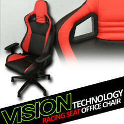 Black/red Red Stitches Pvc Leather Mu Racing Bucket Seat Game Office Chair Vl18