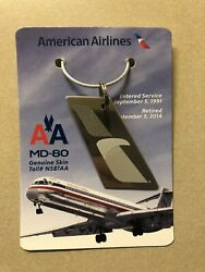American Airlines Md80 Genuine Skin Tail N466aa Commemorative Keychain