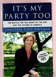 Itand039s My Party Too - Nj Gov/epa Christine Todd Whitman Signed 1st-very Good Cond