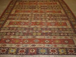 Old Turkish Sarkoy Kilim Rug Traditional Banded Design Very Soft Colours C1920