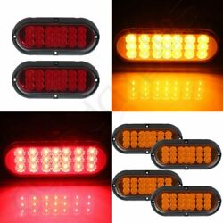 4x 6 21 Led Rubber Amber 4 Holes + 2x Red Super Bright Tail Trailer Truck Light