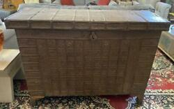 Stunning Interior Design Piece - Antique Wood And Iron Dowry Chest Trunk Storage
