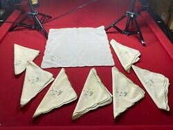 Vintage Lot Of Linens Table Cloths And Napkins Embroidered Some Are Matching Sets