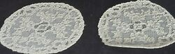 12 Vintage Hand Made Alencon Lace Doilies Cocktail Rounds Vv339