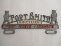 1950s Fort Smith Arkansas Grizzlies Topper Booster License Plate Tag