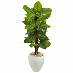 Large Leaf Philodendron Artificial Plant Nearly Natural 5' in White Oval Planter