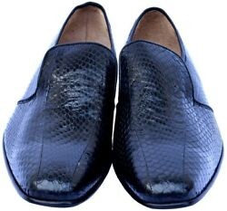 Black Python In Moccasin Style Smooth Walking Genuine Snake Leather Dress Shoes