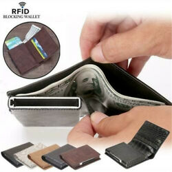 Designer Mens Leather Wallet RFID Safe Contactless Card Blocking ID Protection $10.38