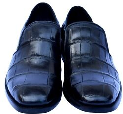 Dignified Black Jewel Real Crocodile Leather Moccasin Style Men Business Shoes