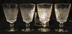 4 Sandwich Footed Water Goblets 8 Oz In Duncan And Miller Clear Glass