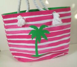 NEW Barnes amp; Noble Palm Tree Tote Bag Canvas Pink amp; White Stripes Rope Handles $23.99