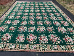 S-antiques Needlepoint Hand Woven Floral Design 12x16ft
