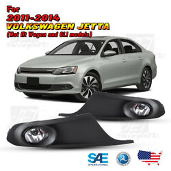 For 11-14 Volkswagen Jetta Fog Lights Bumper Lamps Clear Wiring Kit Switch Pair