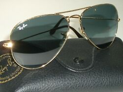 58 14mm RAY BAN RB3025 TOP BLUE GRADIENT CRYSTAL LENS GOLD AVIATOR SUNGLASSES $183.99