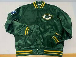 Nike for The Green Bay Packers Green Satin Snap Jacket Men#x27;s Sz Large $74.95