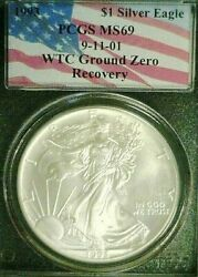 1993 Silver Eagle Wtc Trade Center Recovery 911 Pcgs Ms69 3622nam