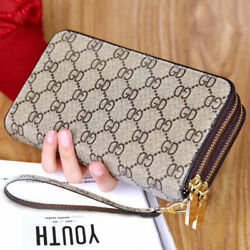 Double Zipper Wristband Long Clutch Wallets For Women Large Capacity Card Holder $12.86