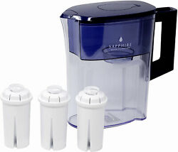 Sapphire Water Pitcher With 3 Filters Clear/blue
