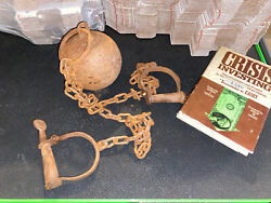 Ball And Chain Alcatraz Prison Solid Cast Iron Metal Shackles Cuffs Master Jail