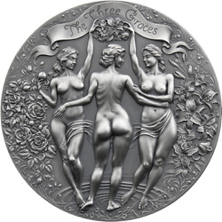 The Three Graces Celestial Beauty 2 Oz Antique Finish Silver Coin Cameroon 2020