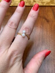 9k Gold Over Sterling Silver Pearl And Zircon Bypass Ring Size T Bnwt