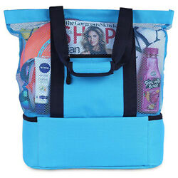 Summer Mesh Beach Tote Bag with Insulated Cooler $22.97