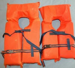 Pair Of Near-shore Buoyant Vests Type Ii Pfd Child's Size M And S Life Jackets