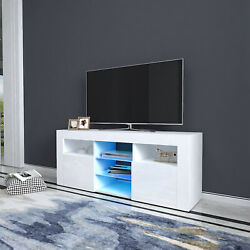 High Gloss Tv Stand Unit Cabinet 2 Storages Console Table W/ Colorful Led Black