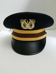 Vintage Us Army Officer Military Kingform Cap/hat Deluxe Dress Field Black 7.25