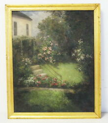 Antique Framed Listed Maine Artist Anna E Hardy Oil On Canvas Landscape Painting