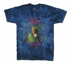 Pink Floyd Scream The Wall Face Mens Blue Tie Dye T Shirt New Official