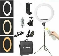 Fodoto 18 Inch Bicolor Led Ring Light Kit With Stand Social Media/beauty Shoot