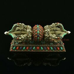 Hand Carved Excellent Quality Silver Vajra / Dorje With Copper Stand Set Nepal