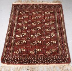 Old Yomut Turkmen Rug Small Size And Excellent Condition Circa 1920.