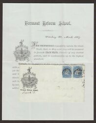 Vermont Waterbury 1869 92 Grilled Pair Advertising Cover + Good Pf Certificate