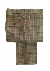 Mens Marc Darcy Smart Formal Check Trousers Enzo - Tan