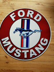 Ford Mustang Metal Sign 14 Round Man Cave/ Garage/shed.